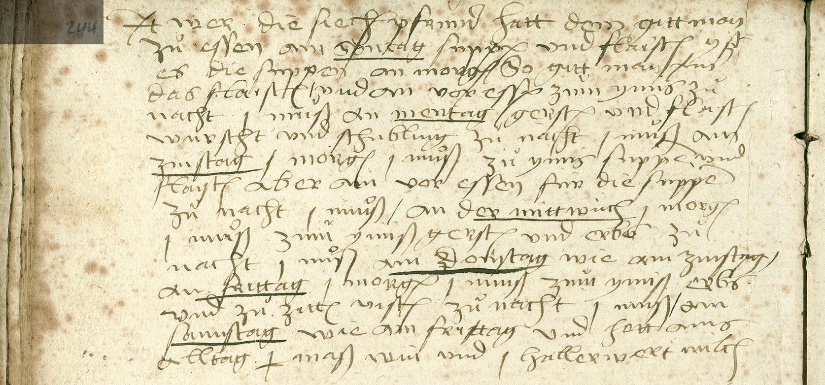 Menüplan der Siechenpfründner im Spital (1460-1566)