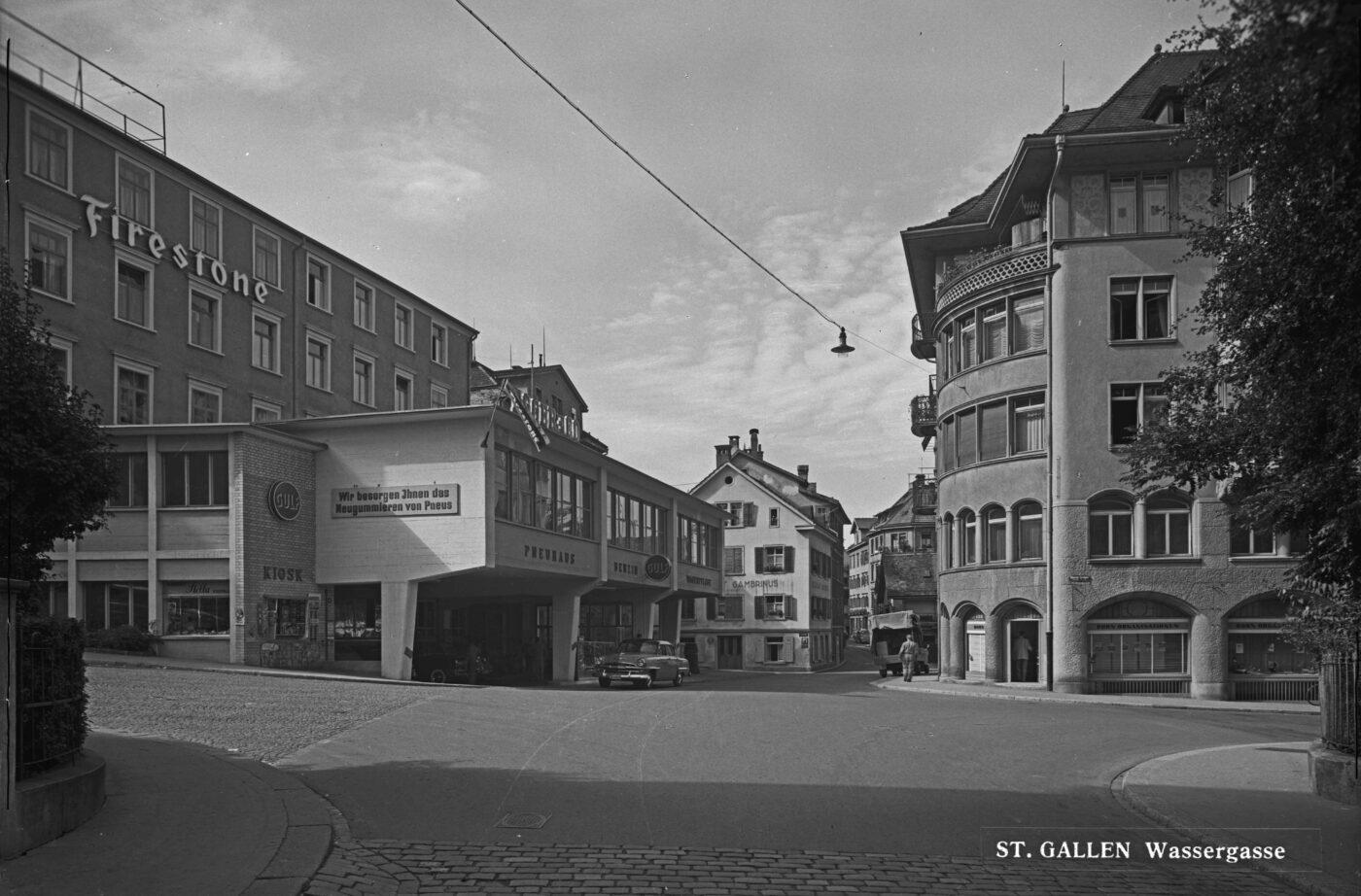 2019 und 1955: Wassergasse, Oberer Graben, Bleicheli