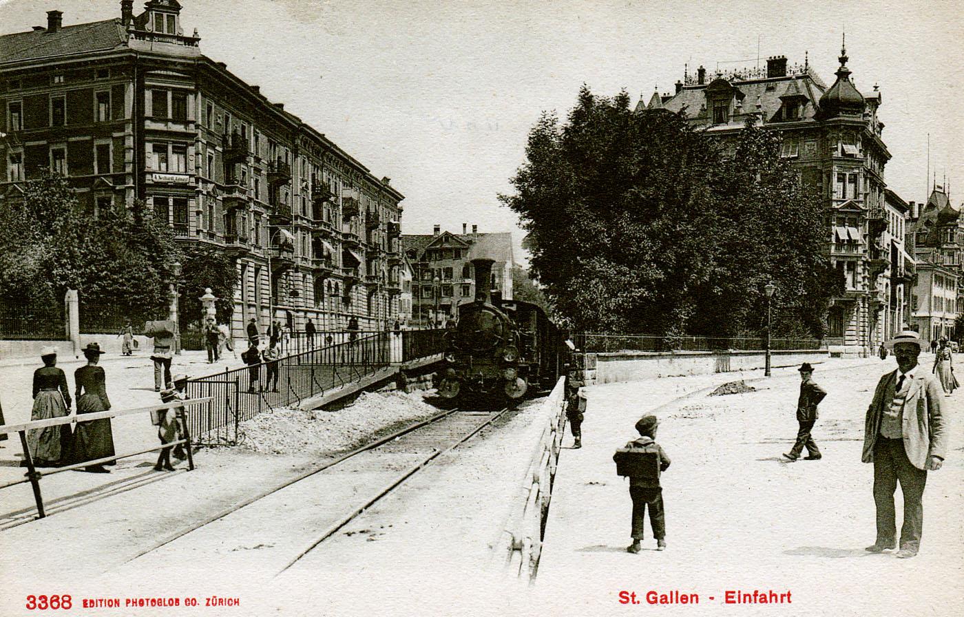 2019 und 1919: Bahnhofstrasse und Rosenbergstrasse