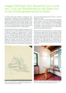 Haggen-Schössli: Vom Bauernhof zum Landsitz – und von Straubenzell an die Stadt und an die Ortsbürgergemeinde St. Gallen