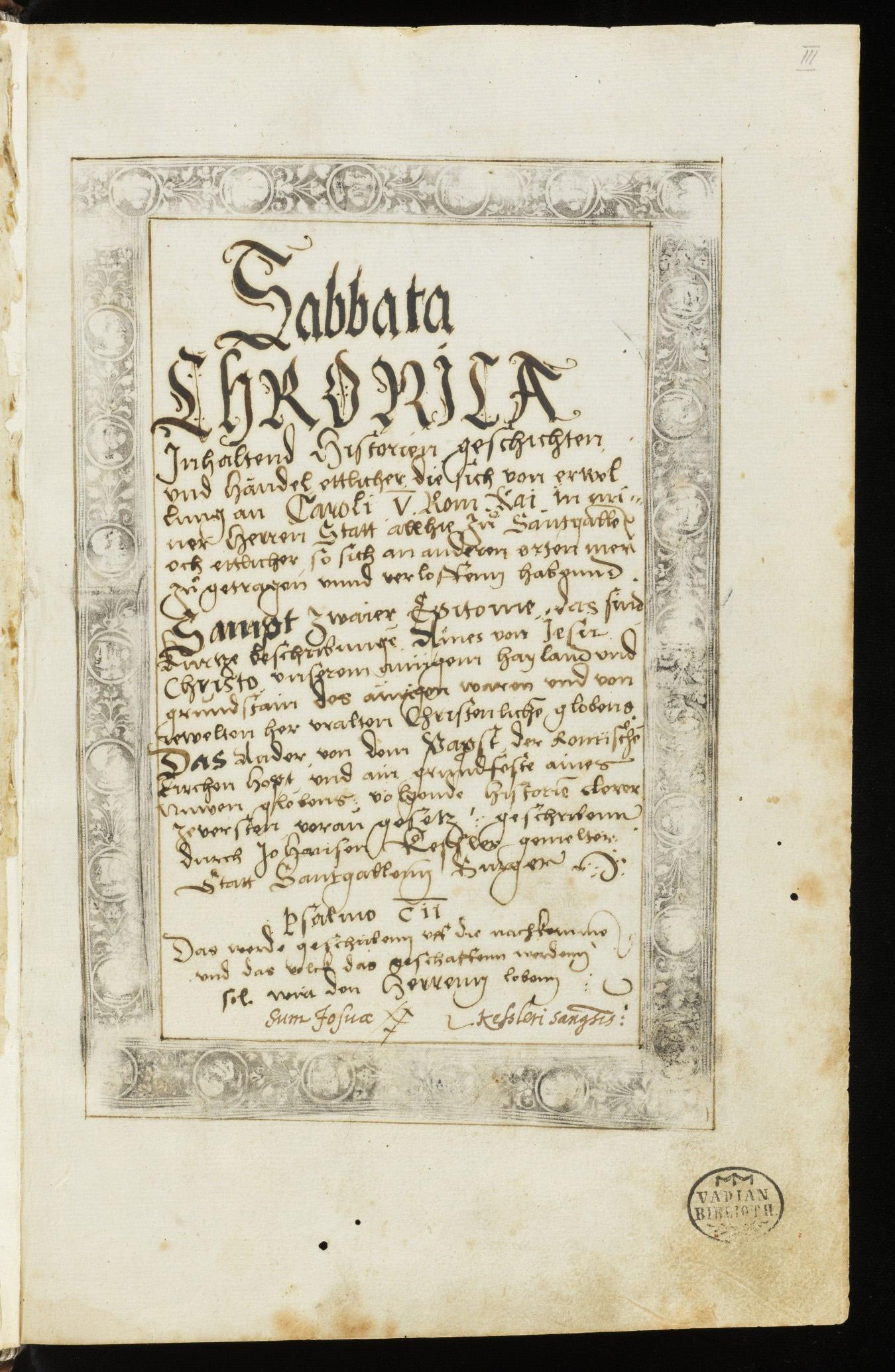 St. Galler Reformationschronik – Die Sabbata von Johannes Kessler, 1527–1544/5